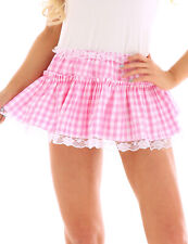US _ Women Mens High Waist Short Skirt Crossdresser Gingham A-line Flared Skirt