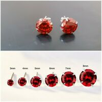 WOMENS SOLID 925 STERLING SILVER ROUND STUD RED CUBIC ZIRCONIA EARRINGS CZ