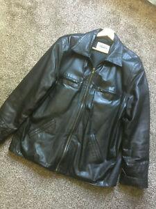 "Superb Vera Pelle Italy Vintage Mens Dk Brown Leather Jacket M/L ~ 42-44"" Brando"