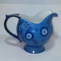 Blue And White FTD Floral Vase Pitcher 6 1/4 Inches Tall