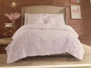 NEW Villa Amelie All White Chenille Candlewick Queen Coverlet Cotton 88x92 NIP
