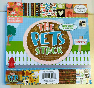 """THE PETS STACK CARDSTOCK PAPER PAD - 8""""X8"""" - 48 SHEETS - WITH GLOSS AND GLITTER"""