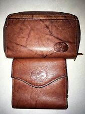 two buxton brown leather women's wallets