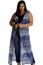 New Womens Cardigan Plus Size Ladies Waves Print Crochet Lace Open Front Long