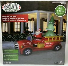 9 FT Inflatable Christmas North Pole Fire Delivery Truck Dept Airblown Gemmy