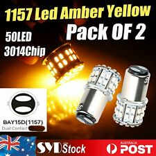 2 x 1157 Led BAY15D 50SMD 3014 AMBER Cars Turn Signal Tail Stop Backup Lights
