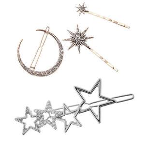 4 Pcs Geometric Moon Star Hairpin Clip Hair Snap Clamp Hair Accessories