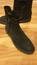 ALBERTO FERMANI BLACK SUEDE LOW HEEL STYLE ANKLE ZIPPERS BOOTS ITALY MSRP $475