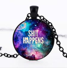 happens Black/Bronze/Tibet silver Glass Dome chain Pendant Necklace