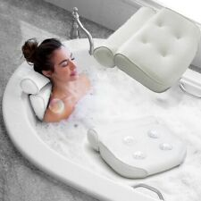 Luxury White Comfort Cushioned Relaxing Bath Bathroom Pillow Spa Head Neck Rest,
