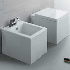 Sanitari squadrati filo muro Simas Frozen design moderno bagno wc bidet copriwc