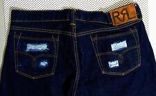 RRL Double RL Slim Straight Selvedge Denim Blue Jeans Mens 31x34 Dark Rinse