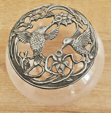 Antique Candy Dish Glass End with Lid Pattern Two Birds