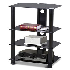 4-tier Media Component Stand AV Plasma Audio Cabinet With Glass Shelf Wall Mount