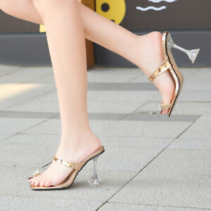 Women Square Toe Sandals Flip Flops Kitten Heels Mules Slip On Slipper Nightclub