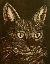 "ORIG. WOODCUT PRINT/CAT PORTRAIT ~ dtd. 1971 ~ ""ZERO"" ~ ed. 23/200"