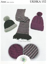 VAT Free Hand Knitting PATTERN ONLY Adults Hats Scarf One Size UKHKA152 New