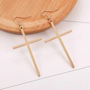 Gold Silber Lange Damen Ohrringe Kreuz Jesus Cross Anhänger Ohrstecker Schmuck