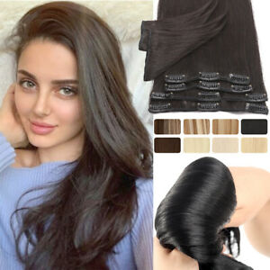 100% Natural Remy Clip In Human Hair Extensions Clip In Russian 8 Weft Hairpiece