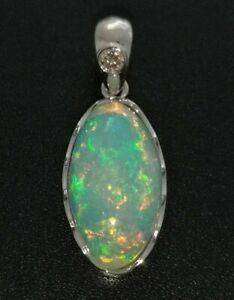 14k White Gold Natural 4.36ct Ethiopian Welo Opal & 0.05ct Diamond Pendant 2.3g