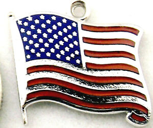 United States of America USA Flag vintage sterling silver and enamel flat charm