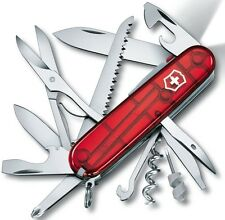 "Victorinox Huntsman Lite Knife 21 Functions Translucent Ruby Handle 3.5"" Closed"
