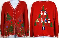 Ugly Xmas Sweater Women's Large Red Cardigan Xmas Tree Snowman Button Up
