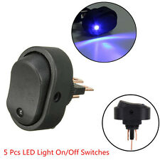 5 Pcs 12V 30A Blue LED Light Car Vehicle Boat Rocker SPST Toggle ON/OFF Switches