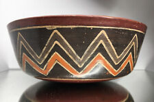 Pre-Columbian Geometric Polychrome Nazca Peruvian Bowl Terracotta Pottery Dish