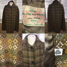 Eclipse Vintage Green Welsh Wool Tapestry Size 12 M Cape Coat Mod Womens