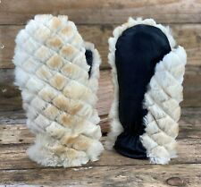 Natural Genuine Rabbit Fur Gloves Mittens Fur Gloves Womens Hand Warmers