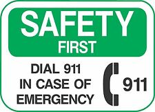 """SAFETY DIAL 911 (5 Pack) 3.5"""" x 5"""" Label Sticker Sign Decal"""