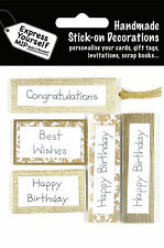 Gold Birthday Captions DIY Greeting Card Toppers Stick-on Decorations