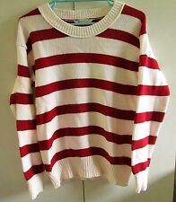 Ladies Emerson Size M Red White Striped Jumper Long Sleeve Cotton Blend