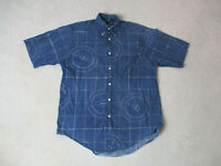 Nautica Button Up Shirt Adult Small Blue White Sailing Boating Casual Mens *