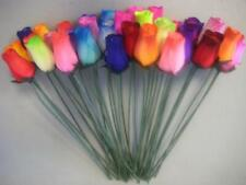 Bouquet of 36 Mixed Color Wooden Rose Buds Artificial Flower