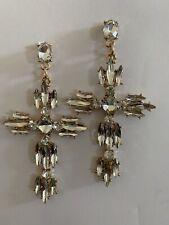 """CLEAR Zircon 3"""" Drop/DANGLE Earrings Gemstone-E8875"""