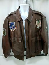 1987 Men's Flyers Leather Jacket Type A2 Frontline Bomber Leather Map Sz Large