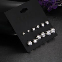 6Pairs Elegant Fashion Sliver  Crystal Rhinestone Ear Stud Earrings Women Gift