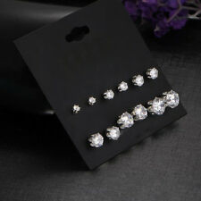 6 Pairs/set Women Fashion Round Crystal Rhinestone Ear Stud Earrings Jewelry