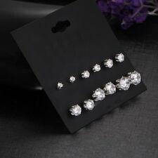 6 Pairs/Set Women Fashion Round Crystal Rhinestone Ear Stud Earrings Jewelry
