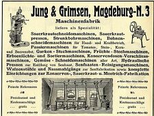 Jung & Grimsen Magdeburg GEMÜSE- SCHNEIDEMASCHINEN Historische Reklame von 1912