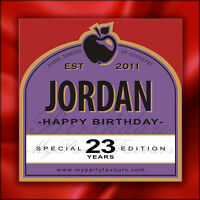 Personalised Cider Bottle Labels (Cherry) - Novelty Birthday Gift - Any Age!