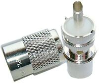 Lot of 4 Silver Teflon PL-259 Coax Connector - HAM CB RADIO - PL259 High Quality