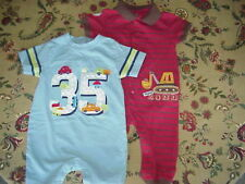 *EUC* Set of 2 Toddler S/S Rompers One Piece Outfits 12 mos Red Blue