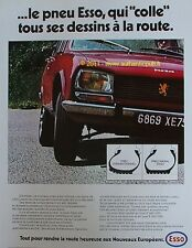 PUBLICITE PNEU RADIAL ESSO PEUGEOT 504 FRENCH AD 1971