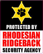 Protected By Rhodesian Ridgeback Security Sticker