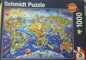 Schmidt 1000 piece Jigsaw Puzzle Discover The World Map Travel Landmarks VGC