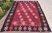 Turkish Rug 84''x117'' Vintage Area Rug Handmade Oriental Rug 216x300cm Kilim
