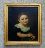 19th c. Portrait Painting Young Boy Theodor Dreier Sr. Antique Victorian